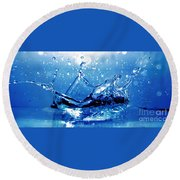 Water Splash Round Beach Towel by Michal Bednarek