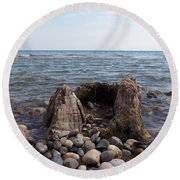 Water Stump Round Beach Towel