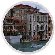 Water Taxi In Venice Round Beach Towel