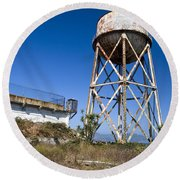 Water Tower Alcatraz Island Round Beach Towel