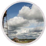 Water Tower Round Beach Towel