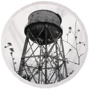Water Tower Round Beach Towel by Michael Grubb