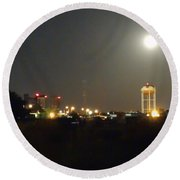 Water Tower Town At Night Round Beach Towel