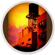 Water Tower With Orange Sunset Round Beach Towel