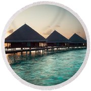 Waterbungalows At Sunset Round Beach Towel