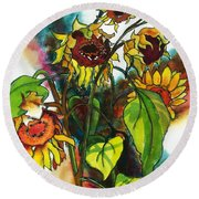 Sunflowers On The Rise Round Beach Towel