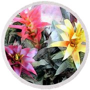 Watercolor And Ink Sketch Of Colorful Bromeliads Round Beach Towel