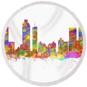 Watercolor Art Print Of The Skyline Of Atlanta Georgia Usa Round Beach Towel