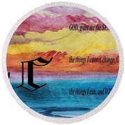 Watercolor C And Serenity Prayer Round Beach Towel