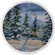 Original Watercolor - Colorado Winter Pines Round Beach Towel
