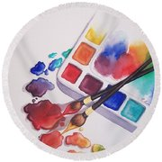 Watercolor Drops Round Beach Towel