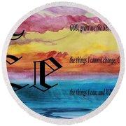 Watercolor E And Serenity Prayer Round Beach Towel