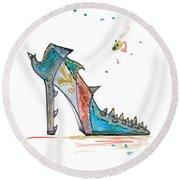 Watercolor Fashion Illustration Art Round Beach Towel