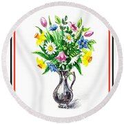 Watercolor Flowers Bouquet In Metal Pitcher Impressionism Round Beach Towel