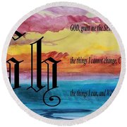 Watercolor H And Serenity Prayer Round Beach Towel