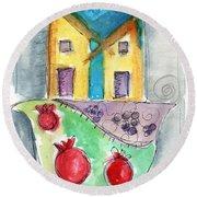 Watercolor Hamsa  Round Beach Towel by Linda Woods