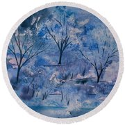 Watercolor - Icy Winter Landscape Round Beach Towel