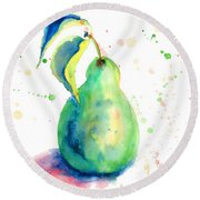 Watercolor Illustration Of Pear  Round Beach Towel