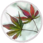 Watercolor Japanese Maple Leaves Round Beach Towel
