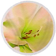 Watercolor Lily Bloom Round Beach Towel