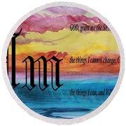 Watercolor M And Serenity Prayer Round Beach Towel