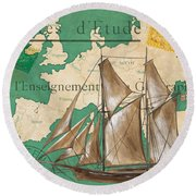 Watercolor Map 1 Round Beach Towel