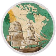 Watercolor Map 2 Round Beach Towel
