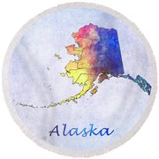 Watercolor Map Of Alaska      United States Round Beach Towel