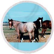 Watercolor Mustangs Round Beach Towel