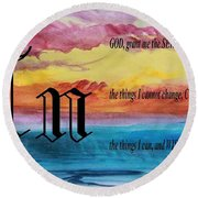 Watercolor N And Serenity Prayer Round Beach Towel