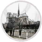 Watercolor Notre Dame Round Beach Towel