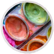 Watercolor Ovals One Round Beach Towel