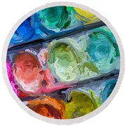 Watercolor Ovals Two Round Beach Towel