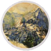 Watercolor Painting Machu Picchu Peru Round Beach Towel