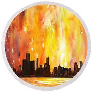 Watercolor Painting Of Skycrapers Of Downtown Chicago As Viewed  Round Beach Towel