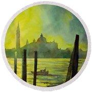 Watercolor Painting Of The Dome Of San Giorgio Maggiore Church I Round Beach Towel