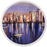Watercolor Painting Of Vancouver Skyline Round Beach Towel