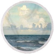 Watercolor Photograph Of Atlantic Ocean Round Beach Towel