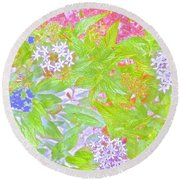 Bouquet Of Flowers Watercolor Photography Round Beach Towel
