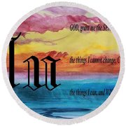 Watercolor U And Serenity Prayer Round Beach Towel