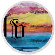 Watercolor V And Serenity Prayer Round Beach Towel