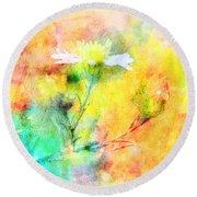 Watercolor Wildflowers - Digital Paint Round Beach Towel