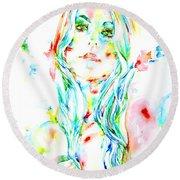 Watercolor Woman.1 Round Beach Towel