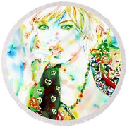 Watercolor Woman.3 Round Beach Towel