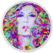 Watercolor Woman.32 Round Beach Towel
