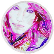 Watercolor Woman.33 Round Beach Towel