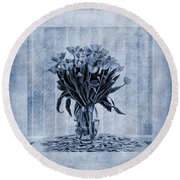 Watercolour Tulips In Blue Round Beach Towel
