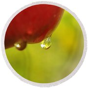Waterdrop Sliding Off An Apple  Round Beach Towel