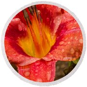 Watered Lily Round Beach Towel