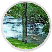 Waterfall And Hammock In Summer 2 Round Beach Towel